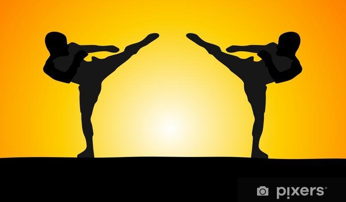 Naklejka Pixerstick Dobra akcja - dwóch zawodników - Karate