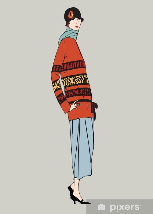 Kjøleskapsklistremerke Flapper jenter (20-stil): Retro motefesten - Kvinner