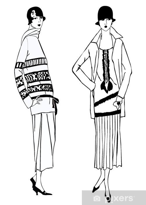 Lack-bord finér Flapper jenter (1920-stil): Retro motefesten - Tekstur på overflaten
