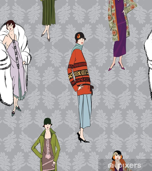 Bord- og skrivebordsklistremerke Flapper jenter (20-stil) sømløs mønster: Retro motefesten - Styles