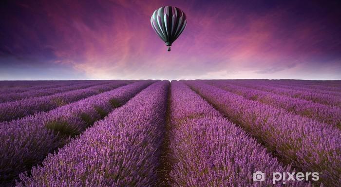 Självhäftande Fototapet Bedövning lavendel fält landskap sommar solnedgång med varmluft bal -