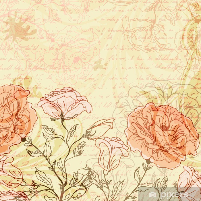 Grungy retro background with roses Vinyl Wall Mural - Themes