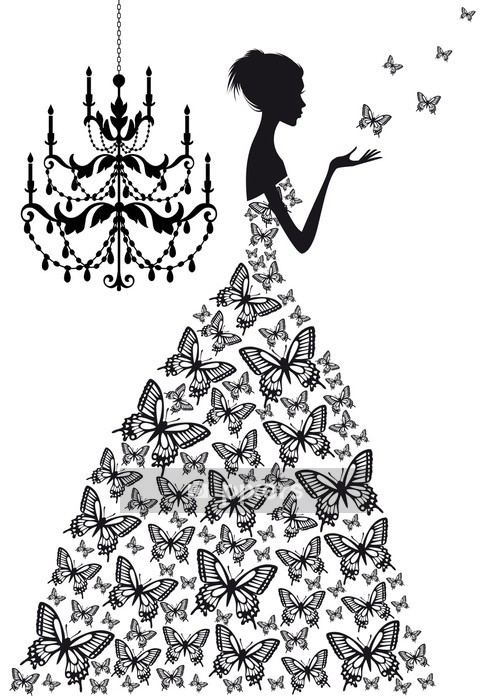 woman with butterflies, vector Wall Decal - Fashion