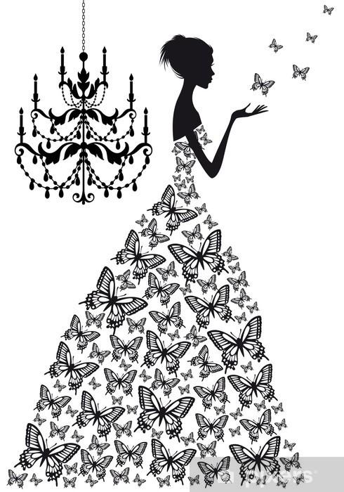 Fotomural Estándar Mujer con mariposas, vector - Moda