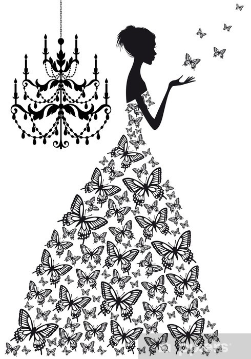 woman with butterflies, vector Vinyl Wall Mural - Fashion