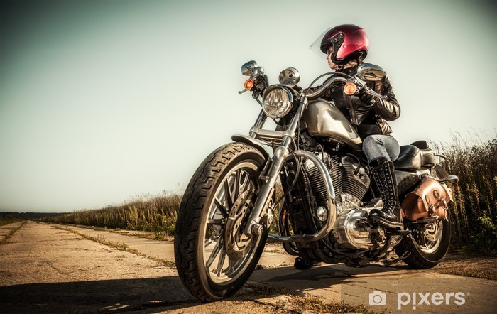 Carta da Parati in Vinile Motociclista ragazza - Temi