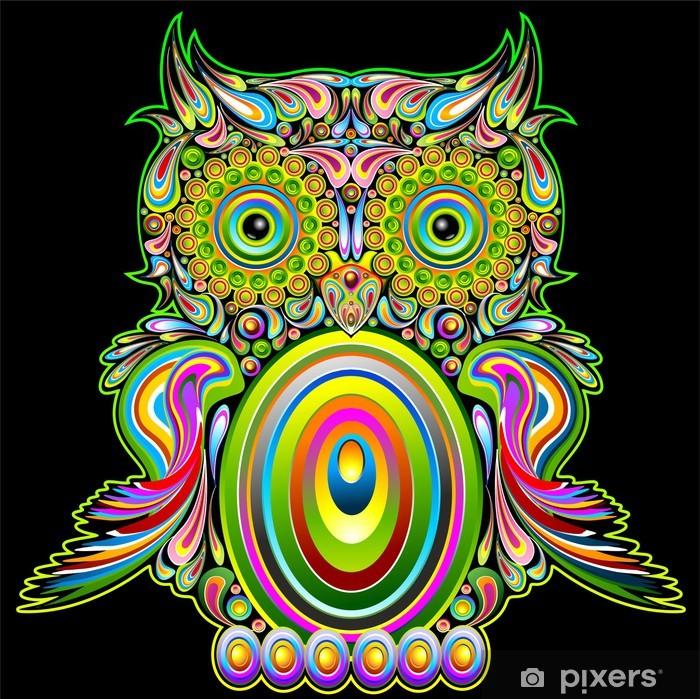 Carta da Parati in Vinile Owl Psychedelic Popart - Gufo Psichedelico Decorativo - Vector - Temi