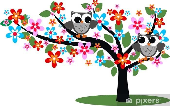 Papier peint vinyle Deux hiboux assis dans un arbre -