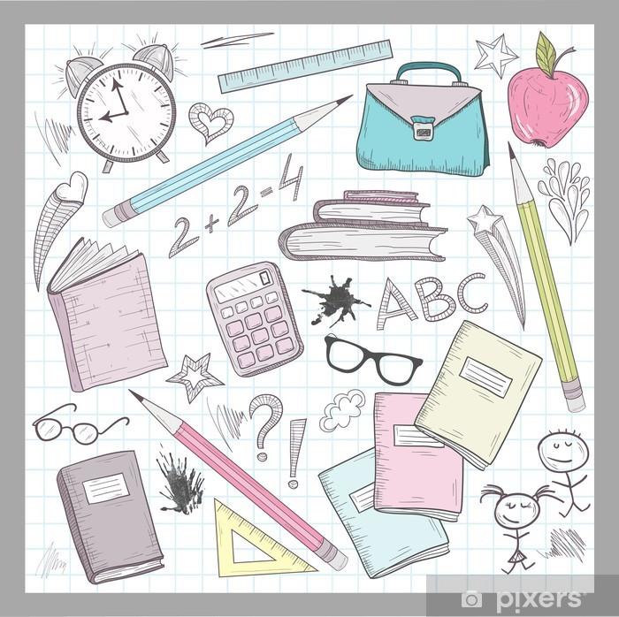 0b64a96ff8aa4 Fototapeta winylowa Elementy Przybory szkolne na podszyciem Sketchbook  papieru tła - Styl życia