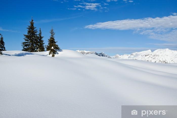 Naklejka Pixerstick Śnieżny krajobraz zimowy - Europa