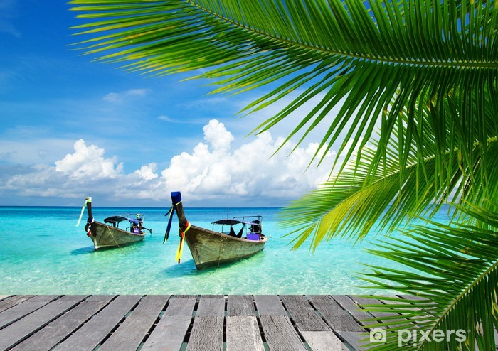Deck with a view of a tropical sea Pixerstick Sticker - Bestsellers