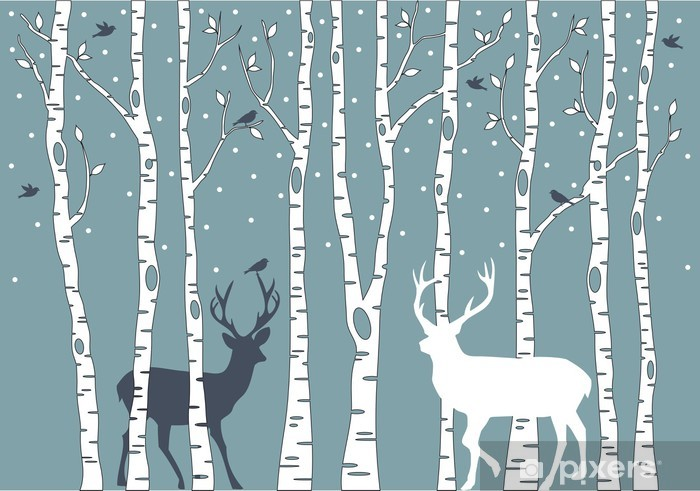 birch trees with deer, vector background Self-Adhesive Wall Mural - Styles