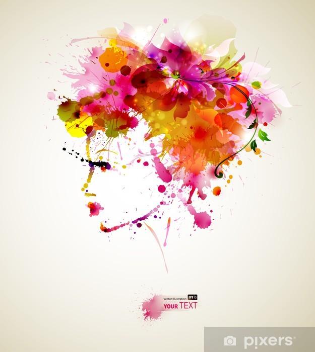Fototapeta zmywalna Piękne kobiety mody z abstrakcyjnych elementów projektu włosów i -