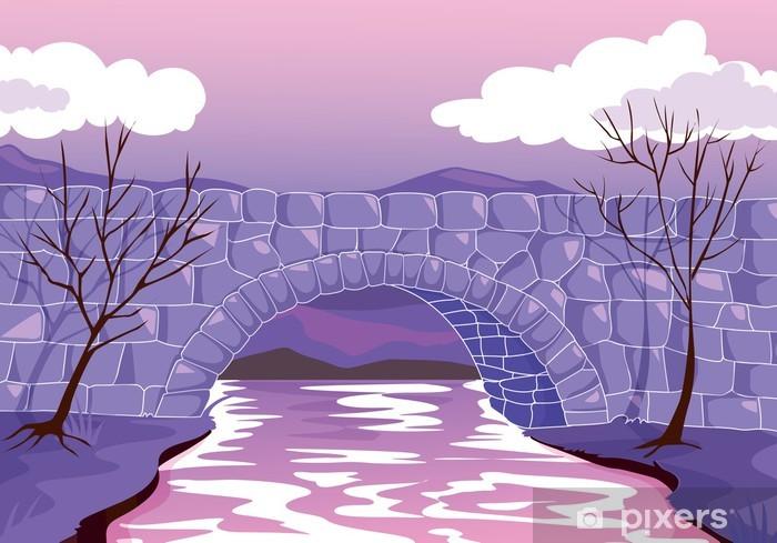 Papier peint vinyle Pont constitué de pierres - Ciel