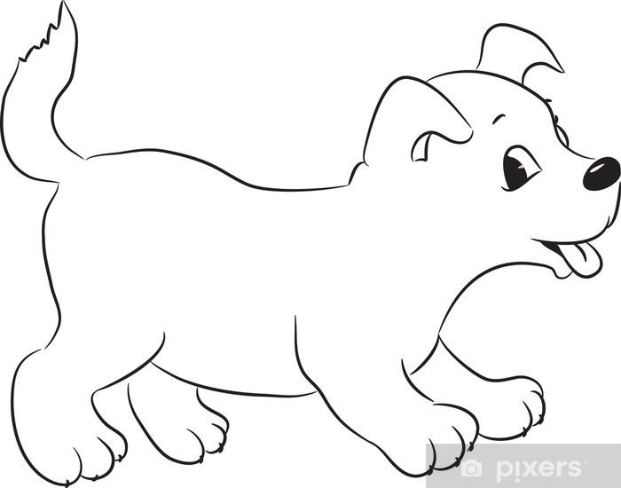 Anahatlı Sevimli Karikatür Köpek Vektör çizim Duvar Resmi Pixers