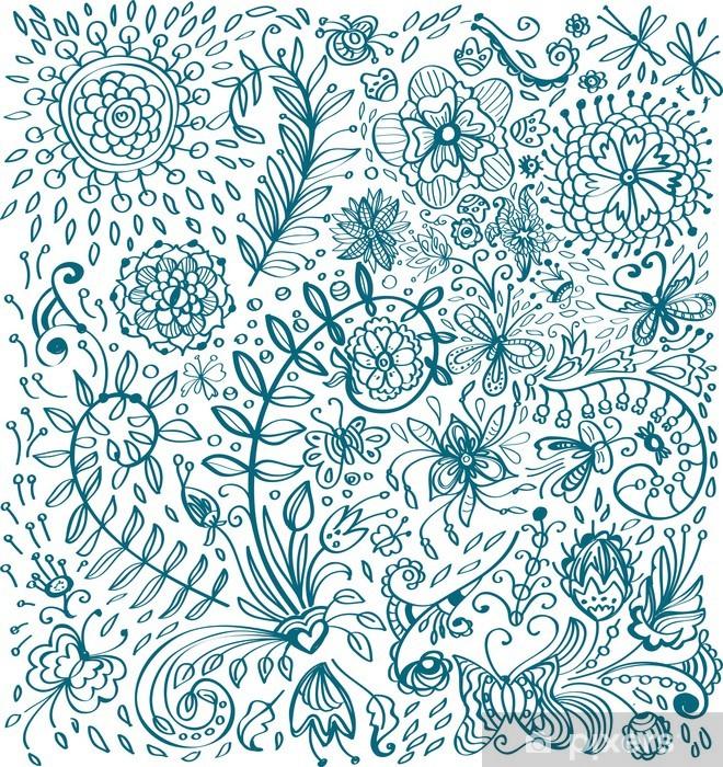 Fototapeta winylowa Doodle tle kwiatów - Rośliny