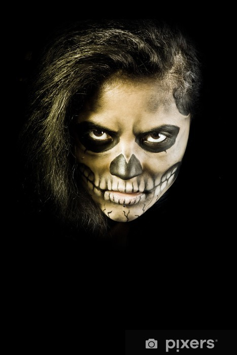 Young Woman In Day Of The Dead Mask Skull Face Art Halloween Fa