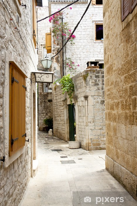 View on narrow alley - Trogir, Croatia. Vinyl Wall Mural - Themes