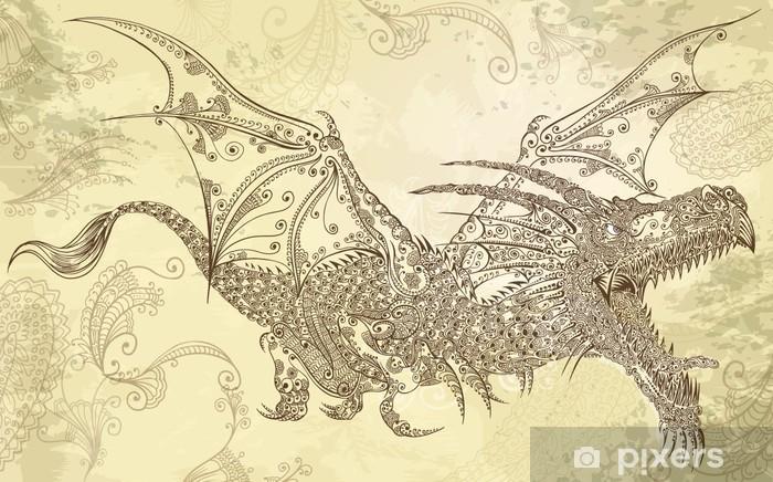 Papier peint vinyle Henné tatouage de dragon tribal Doodle Sketch Vector - Styles