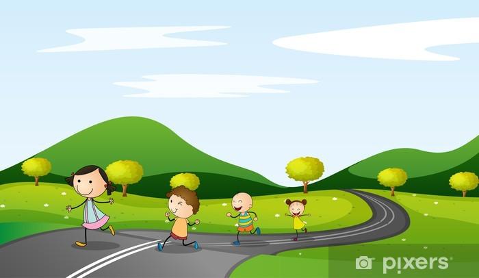 Pixerstick Sticker Kinderen en de weg - Hemel