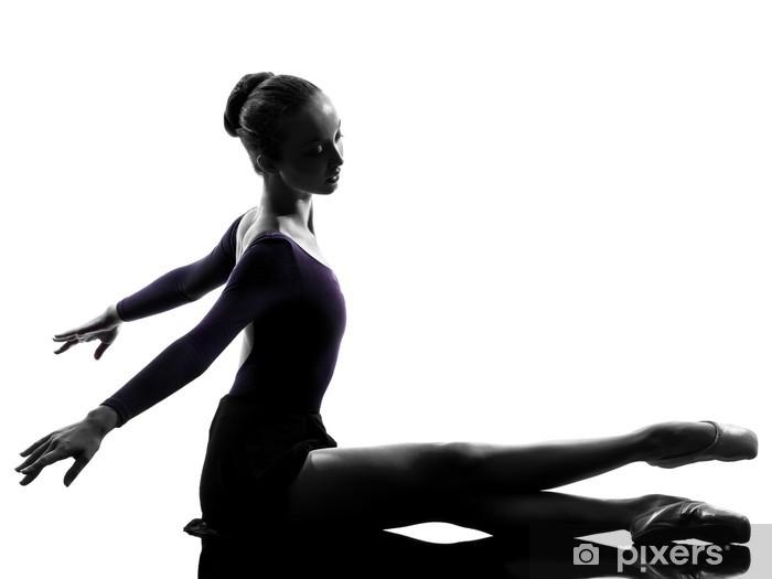 Naklejka Pixerstick Młoda kobieta baletnicy tancerz sięgania rozgrzewkę - Balet