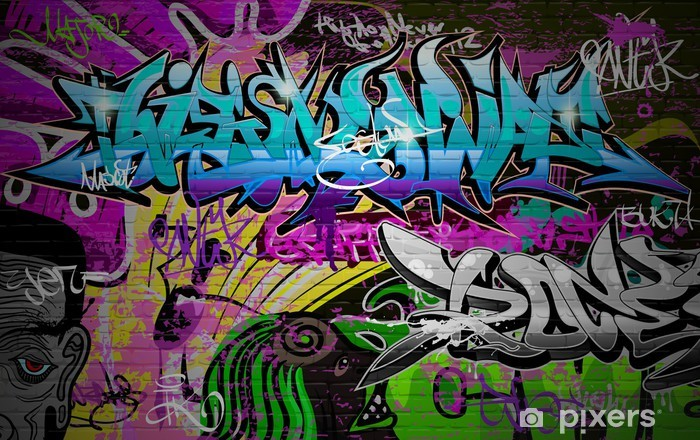 Graffiti wall urban art background Vinyl Wall Mural - Themes