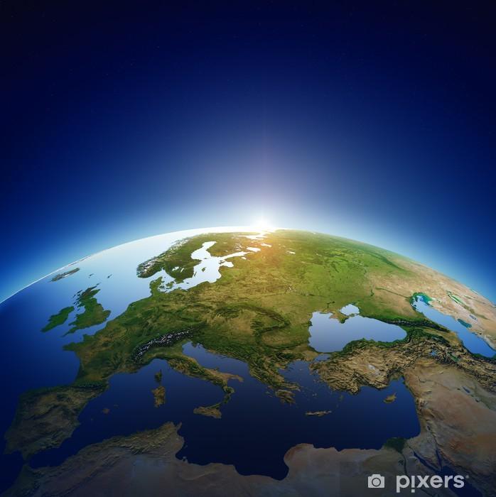 Plakat Planeta Ziemia - Europa o wschodzie słońca - Ziemia