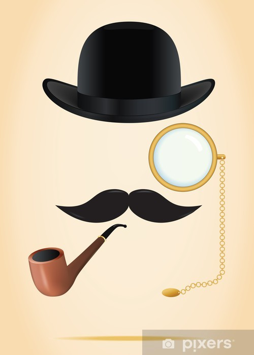 Retro elements set: bowler, moustache, tobacco pipe and monocle Pixerstick Sticker - Moustache