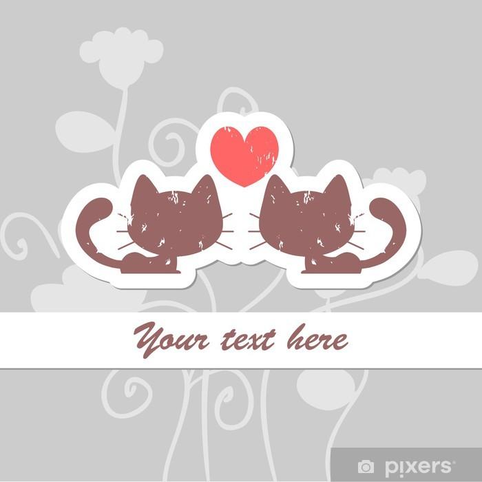 Nálepka Pixerstick Valentine karta s dvěma kočkami - Mezinárodní svátky