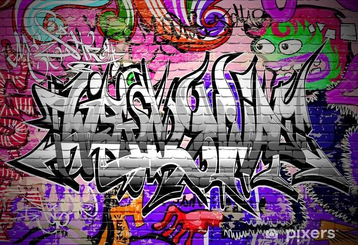 Graffiti vector art. Urban wall with spray paint Vinyl Wall Mural - Themes