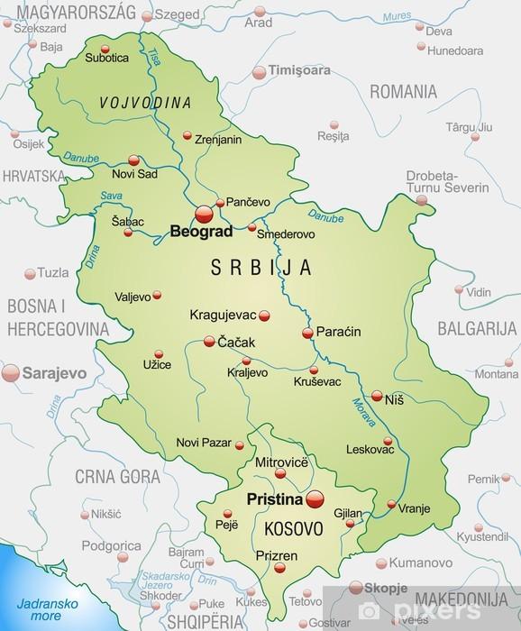 Fototapet Karta Over Serbien Med Grannlanderna Och Huvudstader