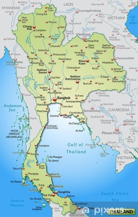 Thailand Karte.Karte Von Thailand Und Umland Mit Hauptstädten Wall Mural Vinyl