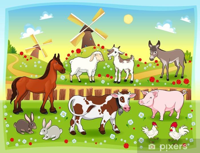 Adesivo murale bambini kit animali della fattoria stickersmurali