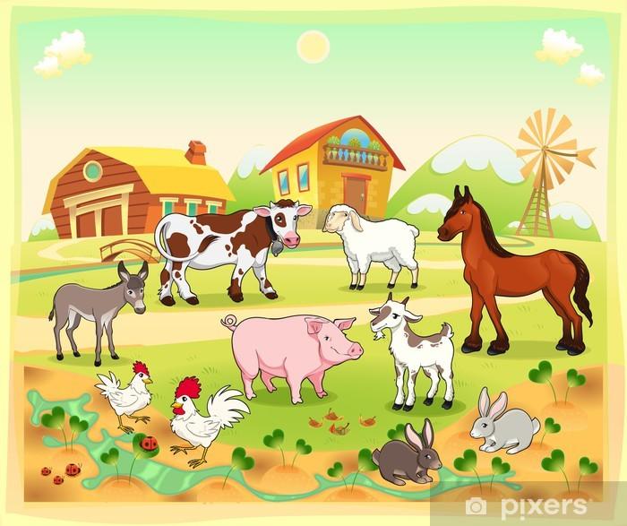 Farm animals with background. Vector illustration. Framed Poster - Birds