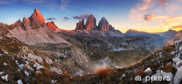 Pixerstick Sticker Sunset mountain panorama in Italy Dolomites - Tre Cime - Thema's