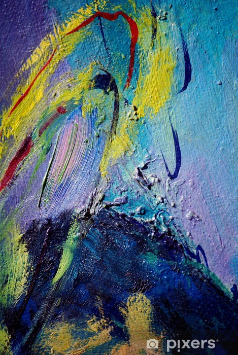 Fototapete Abstrakte Malerei mit Öl auf Leinwand, Illustration, Hintergrund