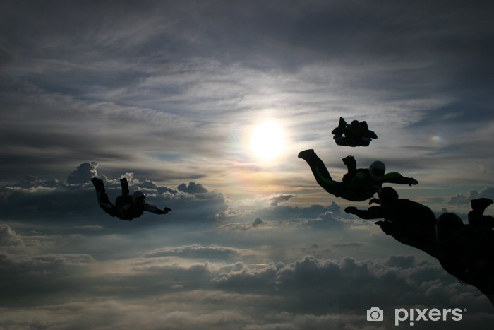 Vinyl-Fototapete Silhouette Fallschirmspringer - Einzelsportarten
