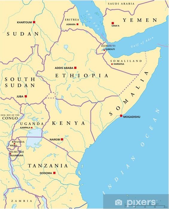 Fototapeta Vychodni Afrika Mapa Ostafrika Land Karte Pixers