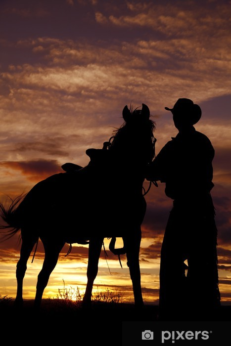 Türaufkleber Cowboy mit Pferden