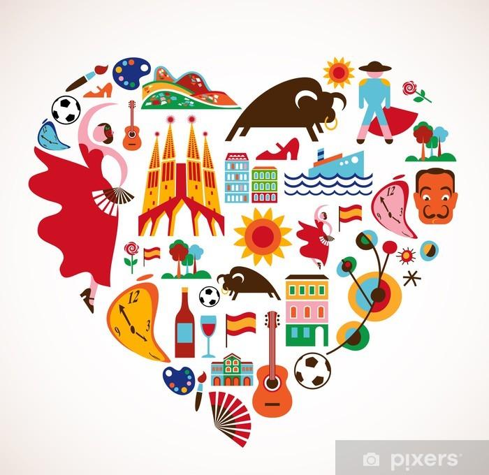 Vinyl Fotobehang Spanje Love - hart met set van vector iconen - Natuur