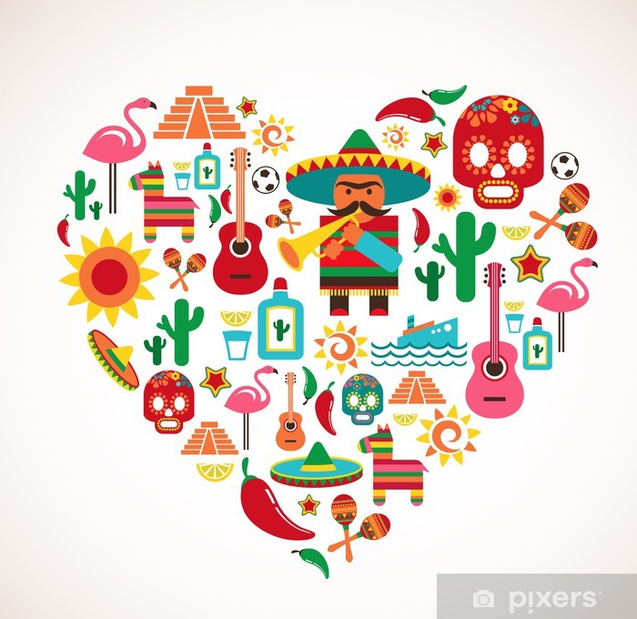 Nálepka Pixerstick Mexiko láska - srdce se sadou vektorových ikon - Témata