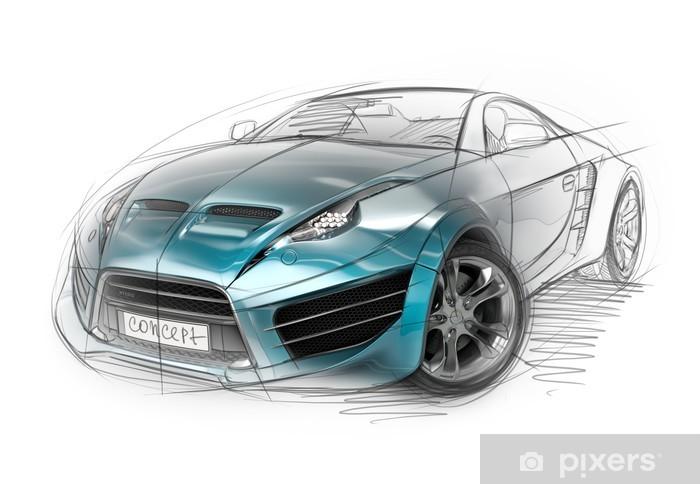 Vinil Duvar Resmi Konsept otomobil kroki. Orijinal otomobil tasarımı. - Karayolu
