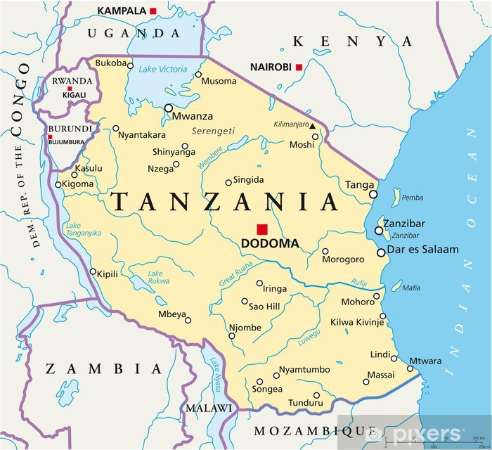 Tanzania Map Tansania Landkarte Wall Mural Pixers We Live