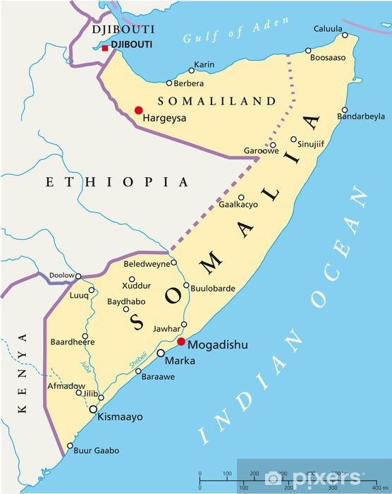Fototapete Somalia map (Somalia Landkarte)