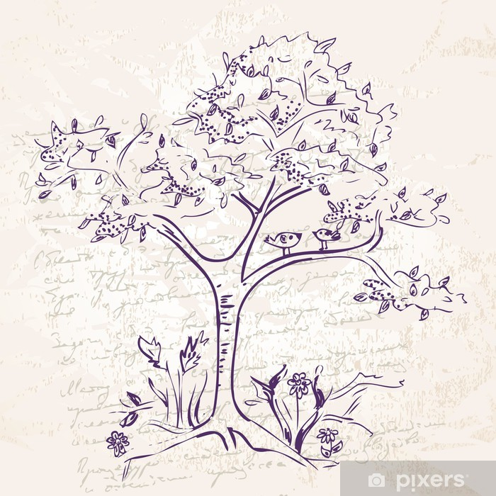 hand-drawing tree doodle Poster - Art and Creation