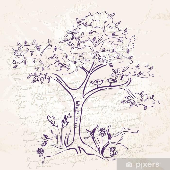 Poster Hand-tekening boom doodle - Kunst en Creatie