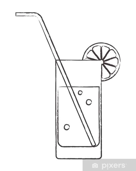 Papier peint vinyle Verre à cocktail avec du citron et paille - Alcool