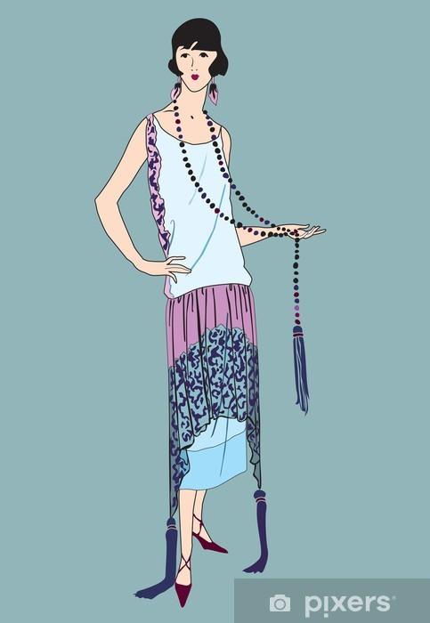Lerretsbilde Mote. Flapper jenter (20 stil): Retro motefesten