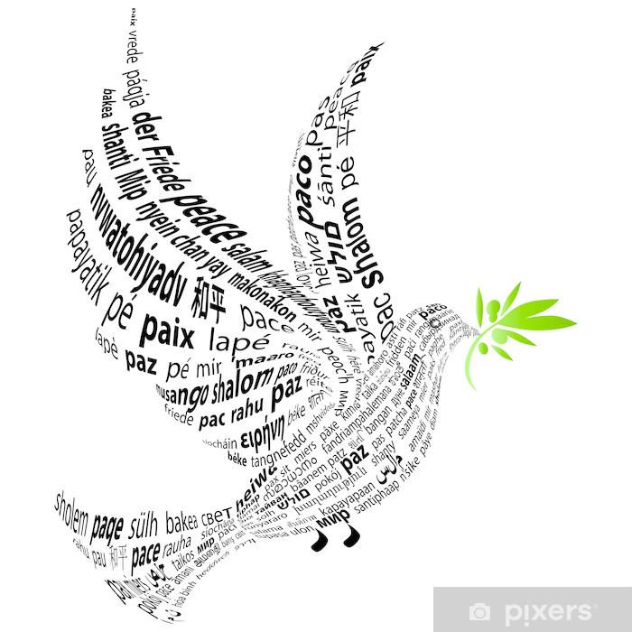 Sticker Colombe avec le mot «paix» dans toutes les langues ...