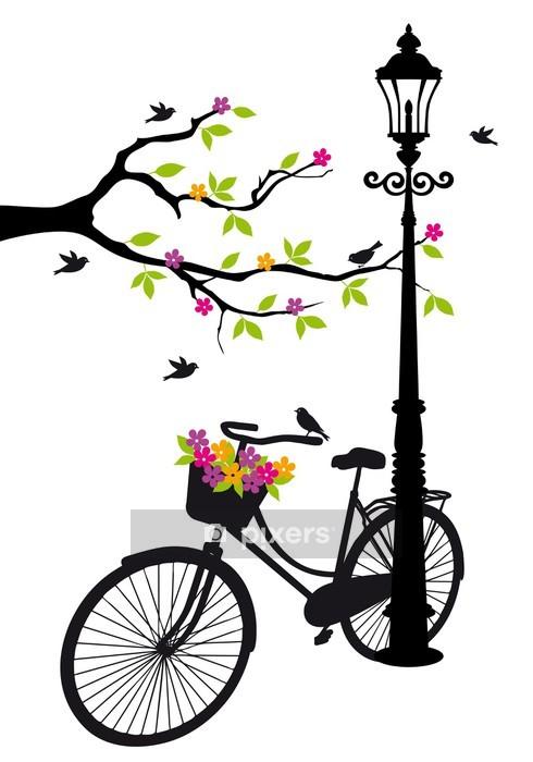 Sticker mural Vélo avec lampe, des fleurs et des arbres, vecteur -